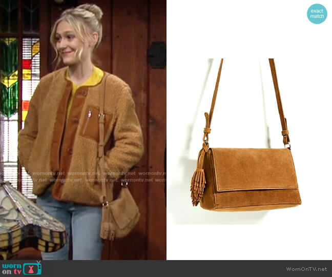 Zara Split Suede Crossbody Bag with Tassels worn by Faith Newman (Alyvia Alyn Lind) on The Young & the Restless