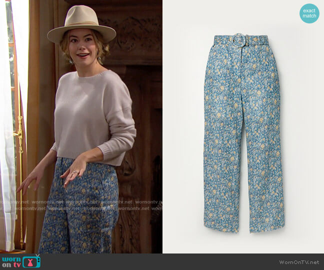 Zimmermann Carnaby Belted Crop Flare worn by Hope Logan (Annika Noelle) on The Bold & the Beautiful