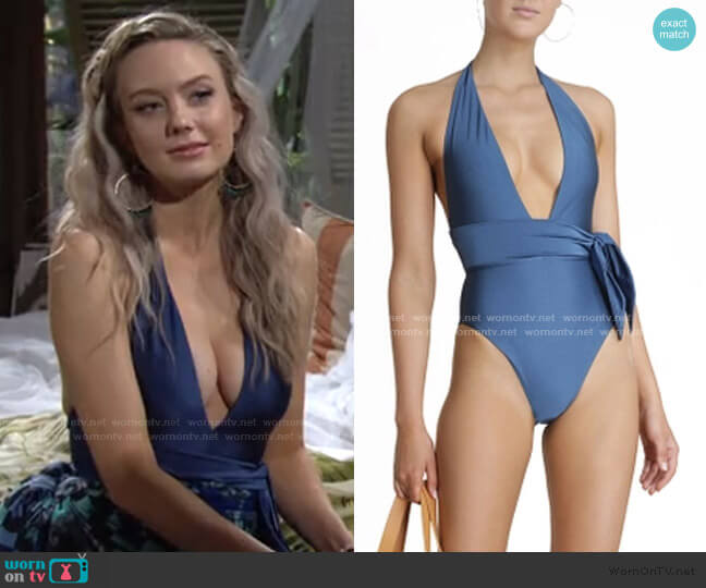 Juliette Plunge Scarf Tie Swimsuit by Zimmermann worn by Abby Newman (Melissa Ordway) on The Young & the Restless