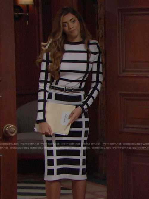 Zoe's black and white checked top and skirt on The Bold and the Beautiful