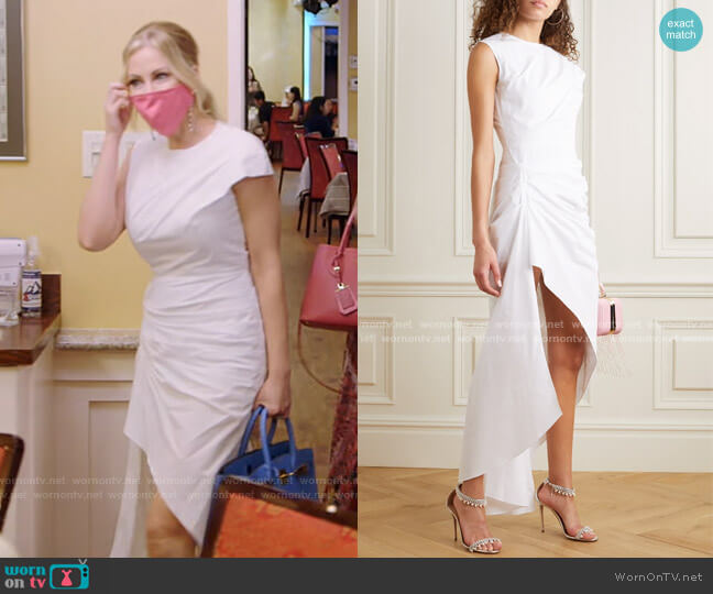 Aster Asymmetric Ruched Cotton-Poplin Dress by 16Arlington worn by Stephanie Hollman  on The Real Housewives of Dallas