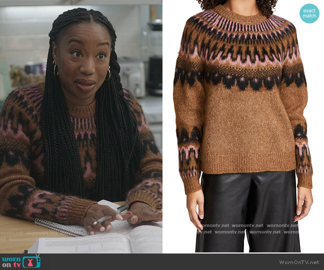 Hollis Fair Isle Sweater by A.L.C. worn by Michelle (Maya Lynne Robinson) on The Unicorn
