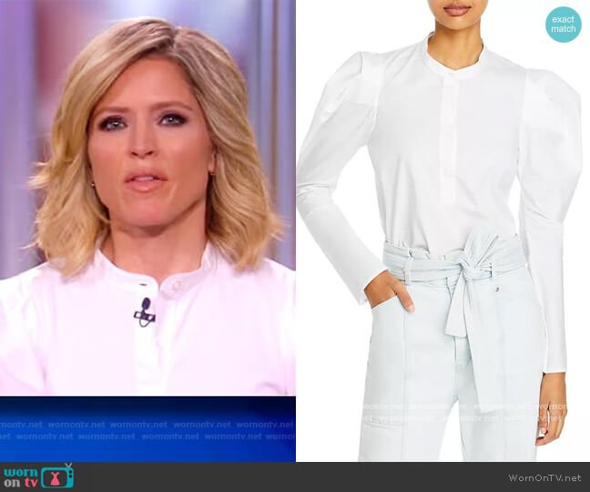 Robbie Jersey Poplin Top by A.L.C. worn by Sara Haines  on The View