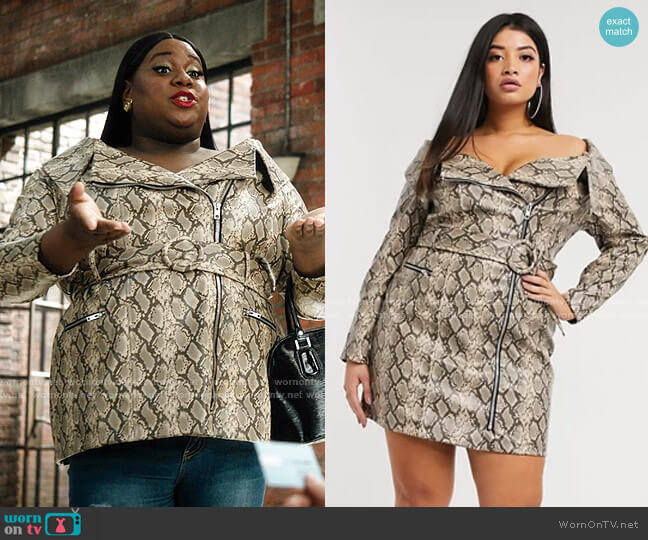 Curve Premium Snake PU Belted Mini Dress by Asos worn by Mo (Alex Newell) on Zoeys Extraordinary Playlist