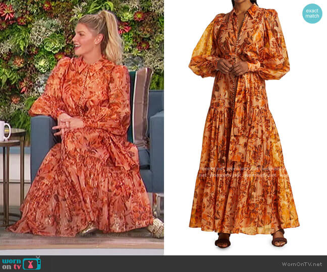 Naples Puff-Sleeve Maxi Dress by Acler worn by Amanda Kloots  on The Talk