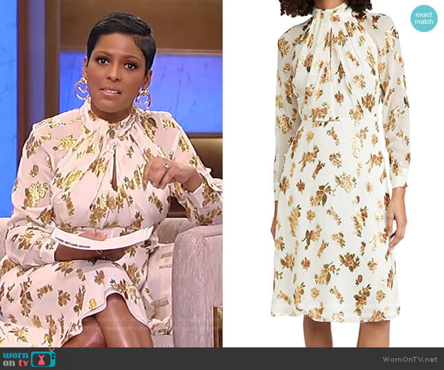 Dress With Twist Drape Neck by Adam Lippes worn by Tamron Hall  on Tamron Hall Show