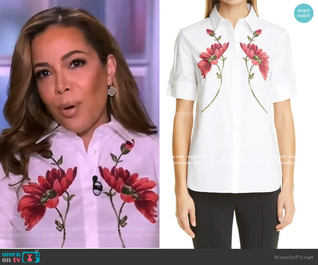 Floral Print Stretch Poplin Shirt by Adam Lippes worn by Sunny Hostin  on The View