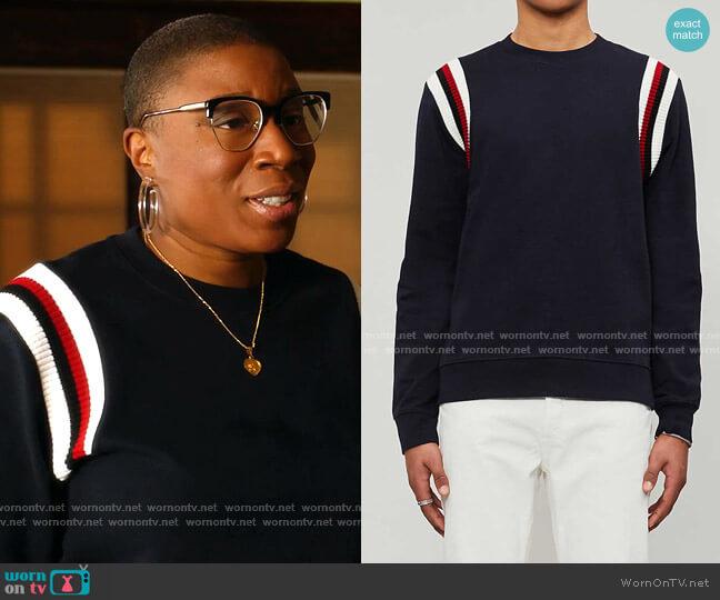 Striped-Trim cotton-Jersey Sweatshirt by Sandro worn by Henrietta Wilson (Aisha Hinds) on 9-1-1