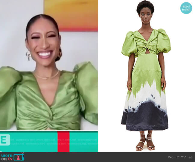 Arcadian Knot Dress by Aje worn by Elaine Welteroth  on The Talk