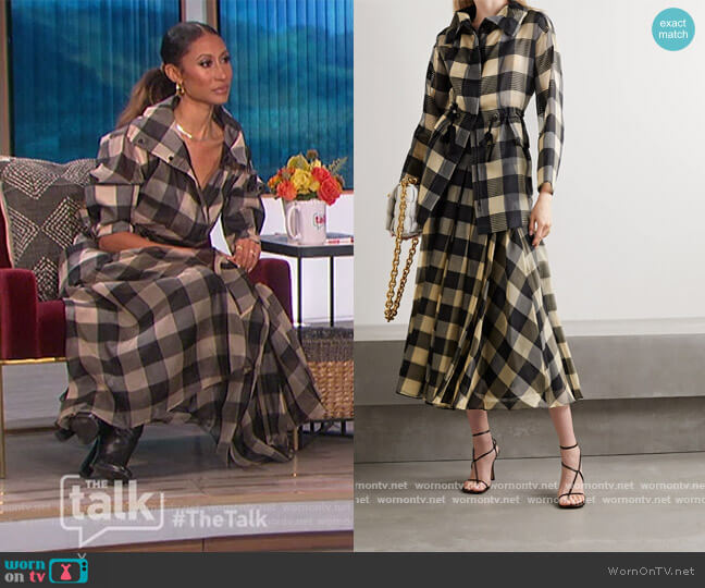 Checked mulberry silk-organza jacquard jacket and skirt by Akris worn by Elaine Welteroth  on The Talk
