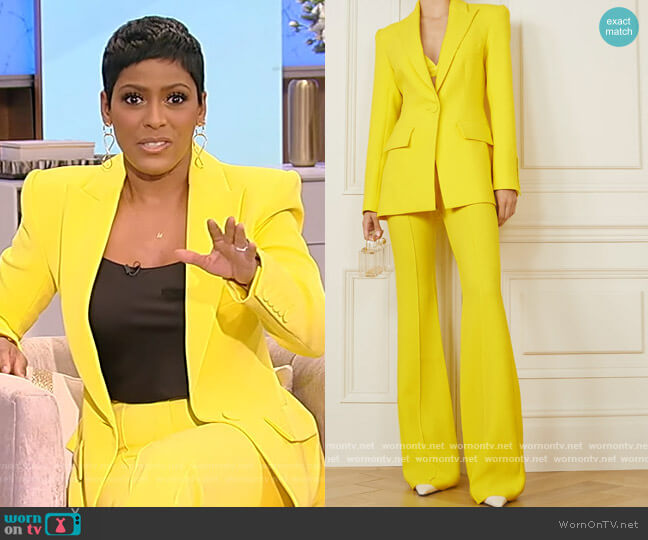 Alex crepe blazer and pants by Alex Perry worn by Tamron Hall  on Tamron Hall Show