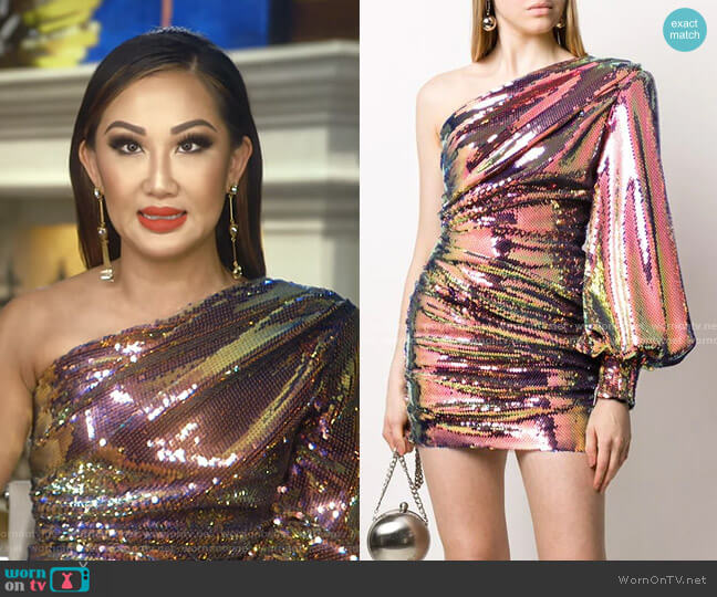 Sequin One Shoulder Dress by Alex Perry worn by Tiffany Moon  on The Real Housewives of Dallas