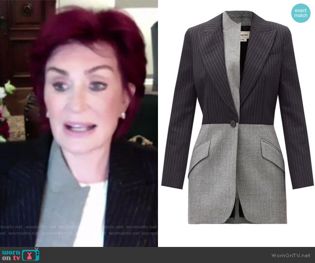 Contrast-lapel wool-blend Blazer by Alexander McQueen worn by Sharon Osbourne  on The Talk