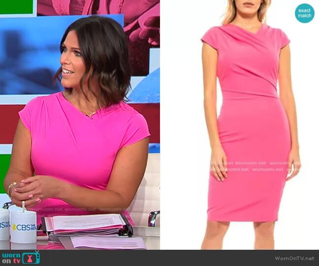 Alexia Admor Ester Pleated Neck Sheath Dress worn by Dana Jacobson  on CBS Mornings