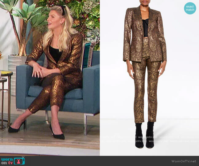 Richie Blazer and Gloriane Trousers by Alice + Olivia worn by Amanda Kloots  on The Talk