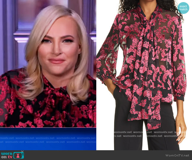 Jeannie Bow Silk Burnout Blouse by Alice + Olivia worn by Meghan McCain  on The View