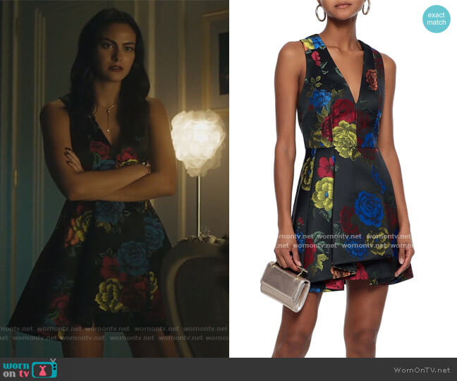 Tanner pleated floral-jacquard mini dress by Alice + Olivia worn by Veronica Lodge (Camila Mendes) on Riverdale