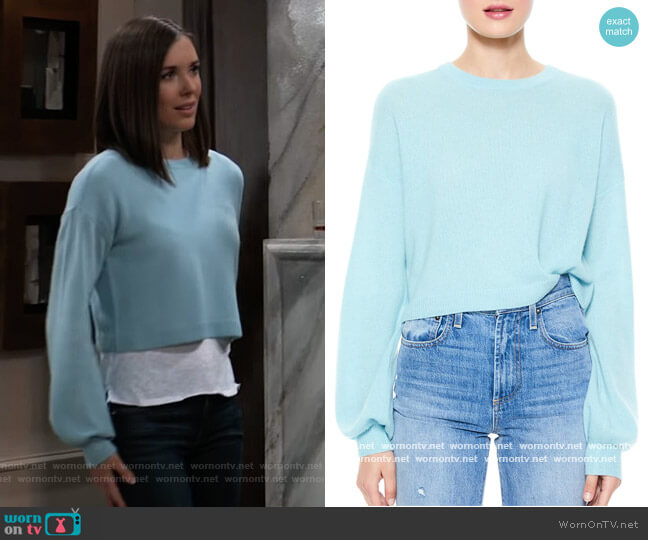 Ansley Puff-Sleeve Crop Sweater by Alice + Olivia worn by Willow Tait (Katelyn MacMullen) on General Hospital