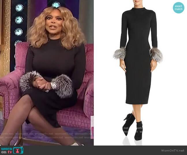Delora Fox Fur-Cuff Midi Dress by Alice + Olivia worn by Wendy Williams  on The Wendy Williams Show