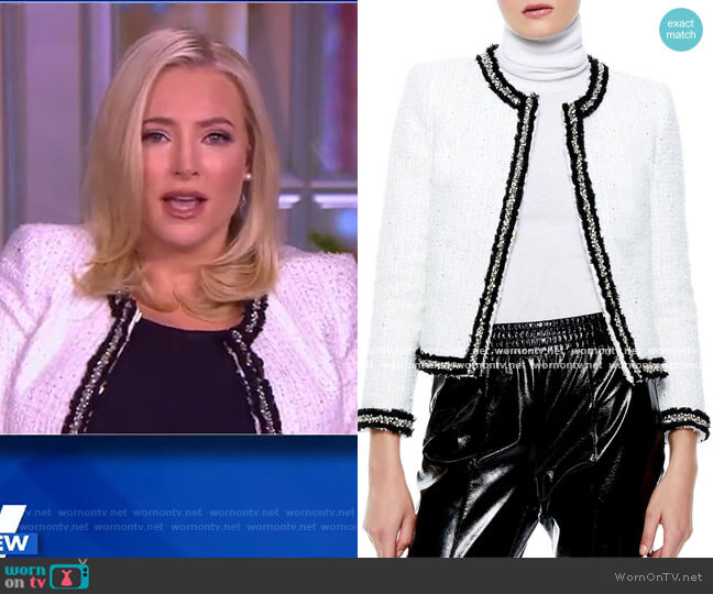 Kidman embellished metallic tweed jacket by Alice + Olivia worn by Meghan McCain  on The View