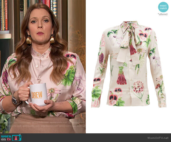 Annotated floral-print silk-twill shirt by Alister Mackie worn by Drew Barrymore  on The Drew Barrymore Show