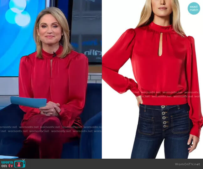 Angela Keyhole Long Sleeve Top by Ramy Brook worn by Amy Robach  on Good Morning America