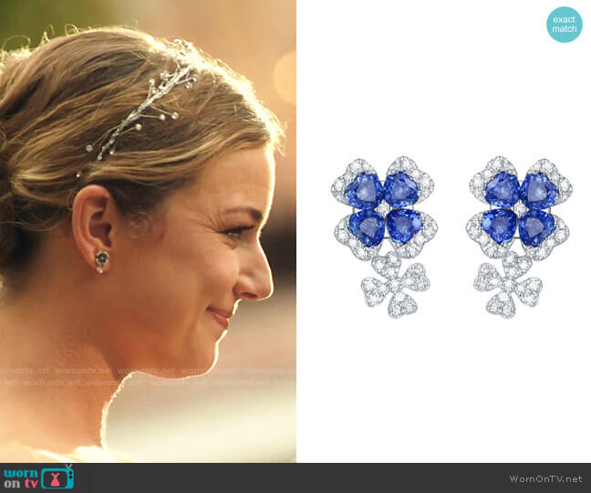 Diamond and Blue Sapphire Flower Earrings by Ashley Morgan Designs worn by Nicolette Nevin (Emily VanCamp) on The Resident