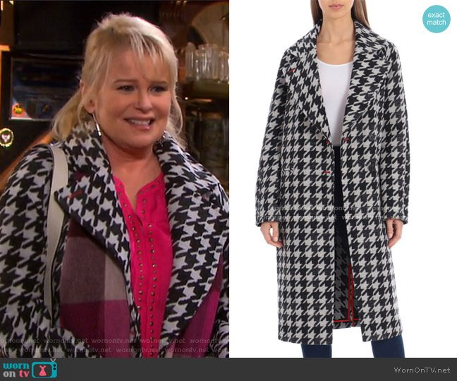 Houndstooth Oversize Double Face Coat by Avec Les Filles worn by Bonnie Lockhart (Judi Evans) on Days of our Lives