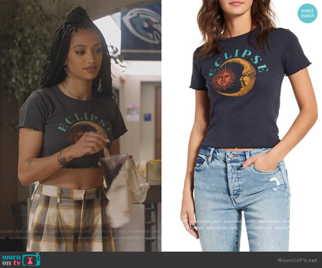 Eclipse Lettuce Edge Tee by Urban Outfitters worn by Olivia Baker (Samantha Logan) on All American