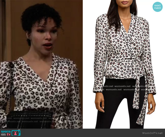 Marguerite Leopard Print Wrap Top by Bailey 44 worn by Portia Robinson (Brook Kerr) on General Hospital