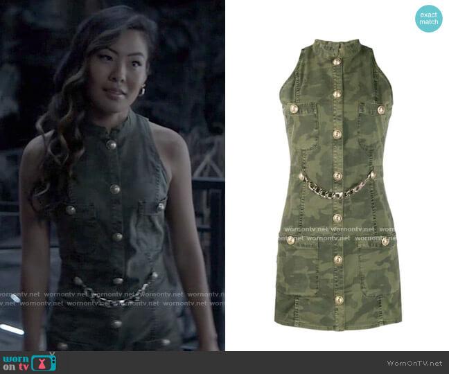 Balmain Sleeveless camouflage print denim dress  worn by Mary Hamilton (Nicole Kang) on Batwoman