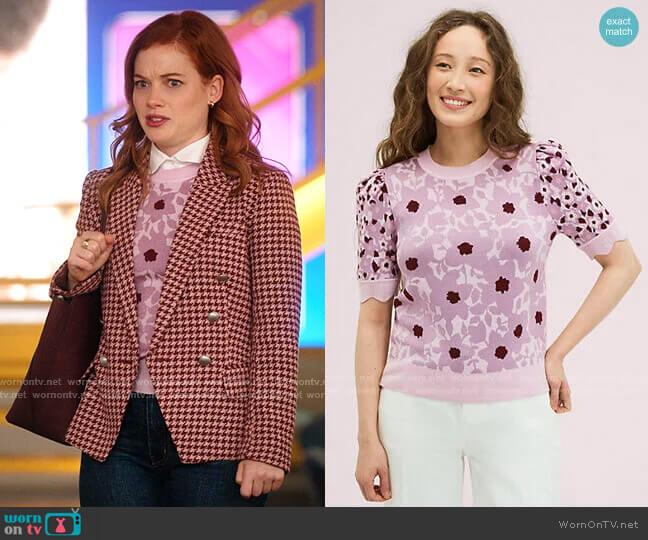 Begonia Jacquard Sweater by Kate Spade worn by Zoey Clarke (Jane Levy) on Zoeys Extraordinary Playlist