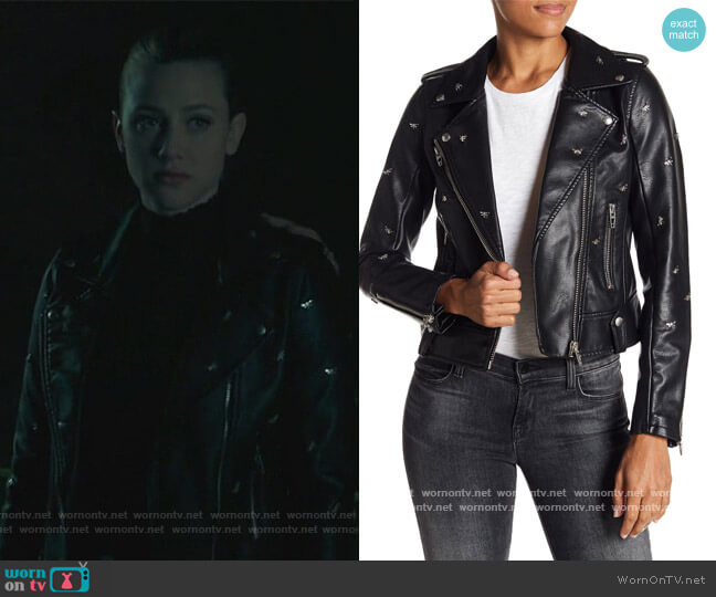 Dragonfly Stud Moto Faux Leather Jacket by Blank NYC worn by Betty Cooper (Lili Reinhart) on Riverdale