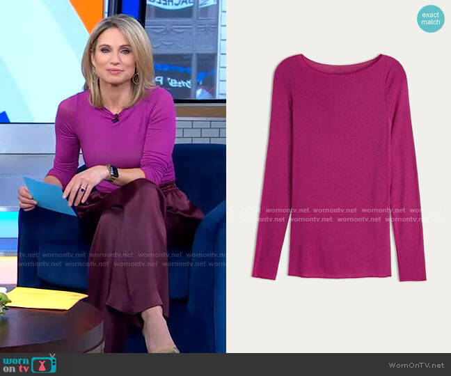 Boat Neck Modal Cashmere Ultralight Jumper by Intimissimi worn by Amy Robach  on Good Morning America