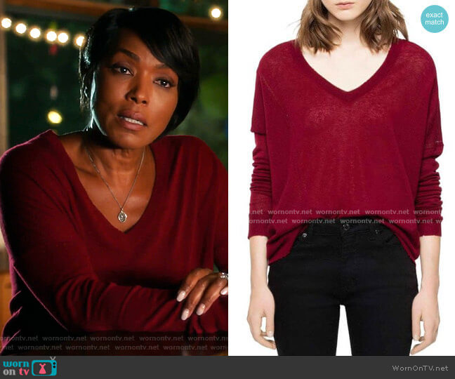 Brume Sweater by Zadig and Voltaire worn by Athena Grant (Angela Bassett) on 9-1-1