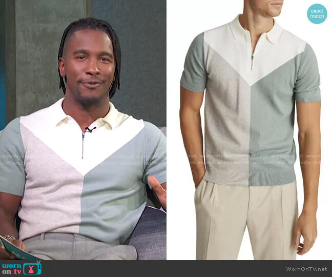 Butler Colorblock Wool Blend Zip Polo in Sage by Reiss worn by Scott Evans  on Access Hollywood