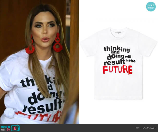 CDG Message T-Shirt by Comme des Garçons worn by D'Andra Simmons  on The Real Housewives of Dallas