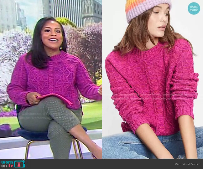 Cable Knit Crewneck Sweater by Gap worn by Sheinelle Jones  on Today