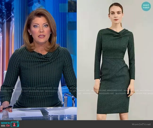 Calcot Dress by The Fold London worn by Norah O'Donnell  on CBS Evening News
