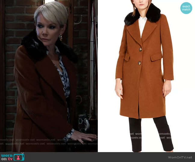 Single-Breasted Faux-Fur Collar Coat by Calvin Klein worn by Ava Jerome (Maura West) on General Hospital