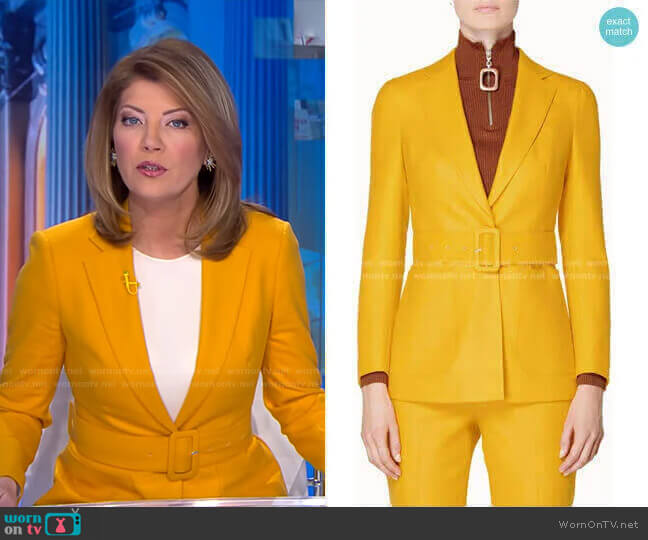 Cameron Belted Jacket by Suistudio worn by Norah O'Donnell  on CBS Evening News