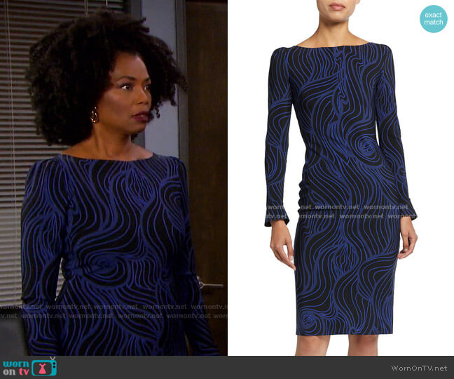 Darsey Printed Cocktail Dress by Chiara Boni La Petite Robe worn by Valerie Grant (Vanessa Williams) on Days of our Lives