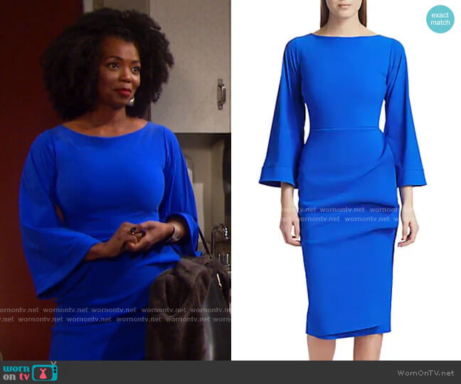 Nusi Bis Flare-Sleeve Dress by Chiara Boni La Petite Robe worn by Valerie Grant (Vanessa Williams) on Days of our Lives