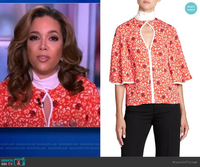 Crepe Flower Print Keyhole Top by Chloe worn by Sunny Hostin  on The View