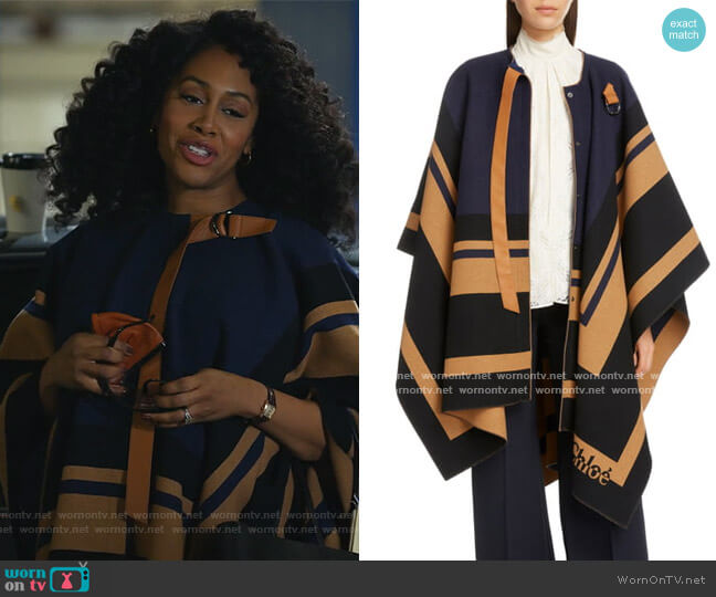 Virgin Wool Blanket Cape by Chloe worn by Lola Carmichael (Simone Missick) on All Rise