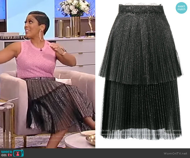 Glitter tulle tiered pleated skirt by Christopher Kane worn by Tamron Hall  on Tamron Hall Show