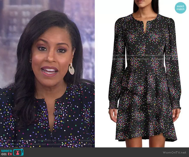 Confetti Cheer Fit & Flare Dress by Kate Spade worn by Sheinelle Jones  on Today