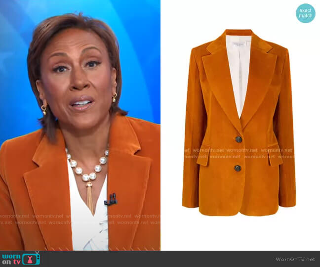 Corduroy Single-Breasted Blazer by Victoria Beckham worn by Robin Roberts  on Good Morning America