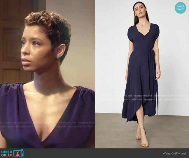 Crepe Satin Wrap Dress by Bcbgmaxazria worn by Elena Dawson (Brytni Sarpy) on The Young & the Restless