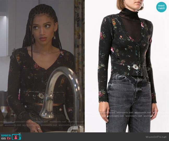 Cropped Cashmere Cardigan by R13 worn by Olivia Baker (Samantha Logan) on All American